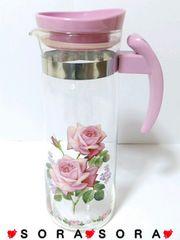 お茶.お水.ジュース.アイスティ等に♪ピンク薔薇ローズ柄ピッチャー