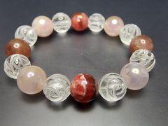 天然石12ミリインカローズ/ストロベリー/ローズオーラ水晶バラ