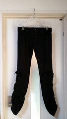新品 ヴィニー シャーリング入り リボン付きパンツ 黒 38