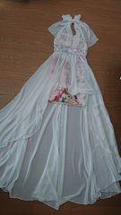 S ロングドレス Jewels インナーミニ 花柄 シフォン 新品 J16407