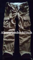 【Abercrombie&Fitch】Vintage ベルト付 ライトウェイトカーゴパンツ 30/Khaki