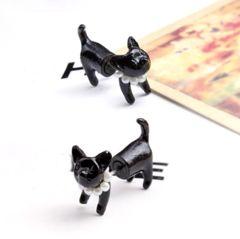 新品 1円〜★送料無料★ パール首輪 黒ネコ猫 ピアス しっぽピーン