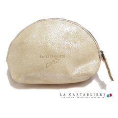 LA CARTABLIEREフランス製きらきらスエード 半円ポーチ#Mヘ