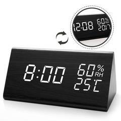 置き時計木目調デジタル LED数字表示