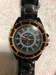 シャネル好きに オールブラック ピンクゴールドベゼル 腕時計