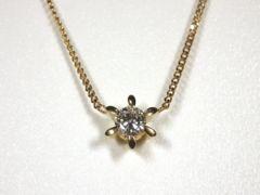正規ノンブランドK18ダイヤモンドネックレス6本爪ダ