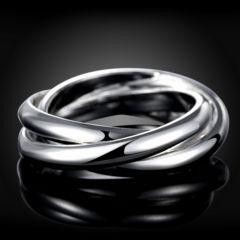 新品 1円〜★送料無料★ 17号 シルバー925刻印 3連リング 指輪