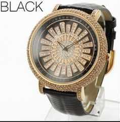 ★大人気★回転スワロフスキー・スピナー腕時計WL2BK