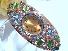 お花畑の楕円ブレス時計(黒