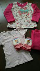 女の子パジャマ、半袖シャツ、手袋3〜4歳マイメロ、プリンセス