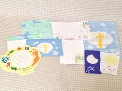 千趣会(ベルメゾン)☆ノートレット<NL-07>レターセット3種&ポストカード・台紙等付