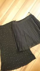プリーツスカート&ラメスカート2枚セットブラック