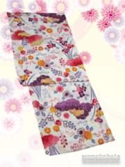 【和の志】女性用綿麻浴衣◇Fサイズ◇生成系・古典柄◇MAF-46