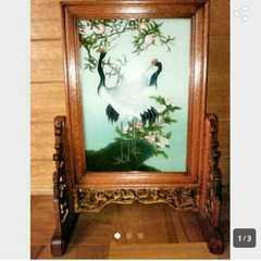新品 花桃鶴 絵画 額衝立 和風 木製 屏風 日本画 中国美術