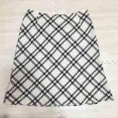 【美品】チェック柄 膝丈ウールスカート/ウエスト70/白×黒