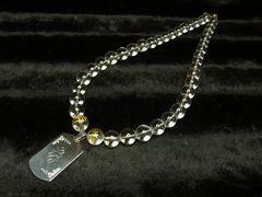 梵字ドッグタグ彫トップ×梵字水晶×水晶クリスタル数珠ネックレス