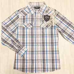 【美品】カジュアル長袖チェックシャツ/メンズM/オフ白×青×茶