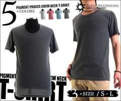 st035黒L★新品 洗い加工半袖Tシャツ 無地 丸首 メンズ お兄系
