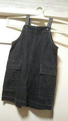 コムサイズム80美品★ブラック黒デニムサロペットショートオール