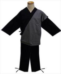 メンズ男物男性作務衣さむえグレー黒M・L・LL・3L(綿100%)
