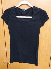 �@ブラックマウジーシンプル黒半袖Tシャツ
