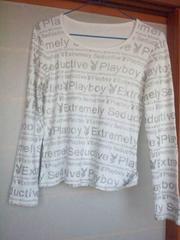 PLAYBOY 白×銀(ラメ)字 長袖 カットソー M プレボ N2m
