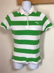 ★PUMA 白×グリーンボーダー スキッパーシャツ  M★