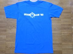 即決USA古着鮮やかロゴデザインTシャツ青!ビンテージアメカジ
