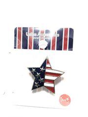 (25)新品未開封星形アメリカ国旗ピンバッチ定価¥498