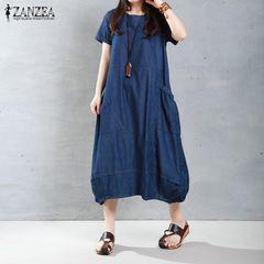 新品大きいサイズ5L〜6L 裾バルーンマキシワンピース 青