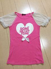 ◆ 超美品 ◆ RONI ◆ ピンク 半袖 Tシャツ ML ロニィ