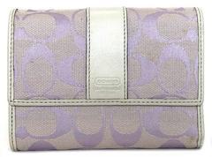 正規コーチ財布シグネチャー三つ折り紫キャンバスミディア