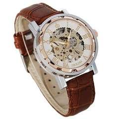 上品なデザイン♪ローズゴールド スケルトン手巻き腕時計★