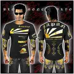 送料無料ヤクザ&悪羅悪羅系/オラオラ系半袖Tシャツ服/JAPAN/14009黒-XL