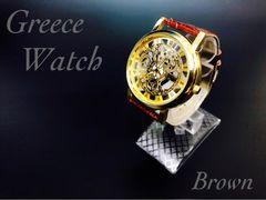 腕時計 メンズ レザー 革ベルト ギリシャ文字金フレーム 茶色