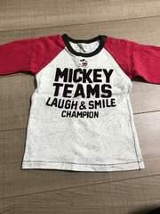 美品ミッキーラグラン長袖Tシャツ95男女OK