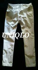 【UNIQLO】ワンタック テーパードイージーパンツ M/Of.White(ストライプ柄)
