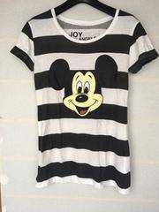 ディズニー ミッキーマウス 白黒ボーダー M コラボTシャツ N2m
