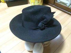 美品  ハット  ブラック   日本製