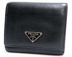 正規品鑑定品PRADA プラダ 三つ折り財布 サフィアーノ 黒