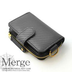 新品 Merge カーボン加工 牛革 メンズ キーケース ブランド 黒 ブラック