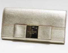 本物 ケイト・スペード 二つ折り長財布 シャンパンゴールド系