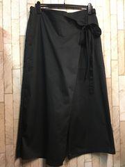 新品☆5Lラップ巻きワイドパンツ♪ウエストゴム黒5800円を!s183