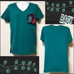 【新品】MIXカラーファーポケット付Tシャツ