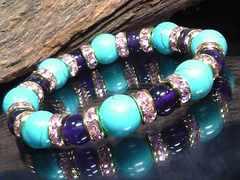 ターコイズ10ミリアメジスト8ミリ§ピンクロンデル数珠