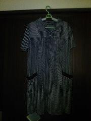 大きいサイズ、黒ボーダー半袖パジャマ