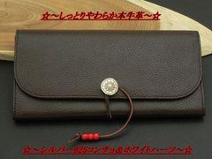 セール品です【高品質】長財布茶C☆コンチョシルバー925本革