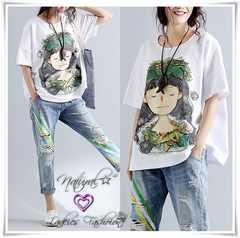 新作★大きいサイズ3L4L 女の子プリントTシャツ*白