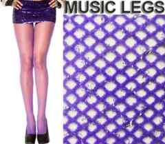 A272)MUSICLEGSグリッターラメ入り網タイツ紫パープルシルバーストッキングダンス衣装