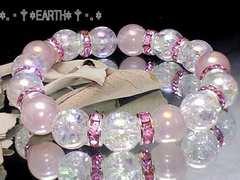 天然石★10ミリ◆アクアクラック&オーラローズクォーツ女性人気数珠